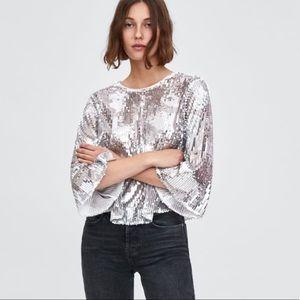 Zara TRF Metallic Sequin Long Sleeve Top Silver M